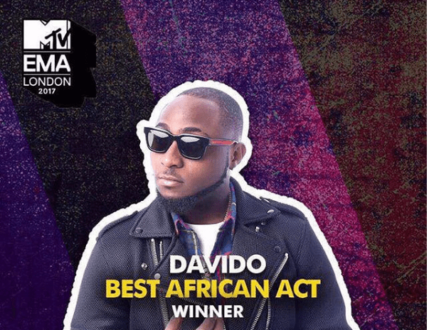 Davido, Wins, Dedicates 2017 MTV EMA Award to Mom