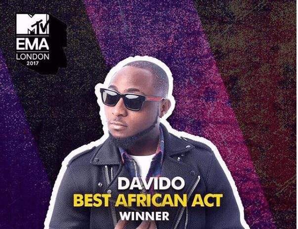 Davido Wins, Dedicates 2017 MTV EMA Award to Mom