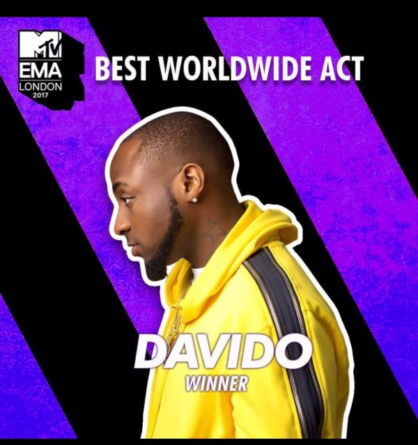 Nigeria's Davido Wins 2017 MTV EMA Best Act Worldwide