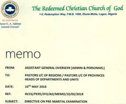 RCCG mandates intending couples to submit for reproductive/genital tests