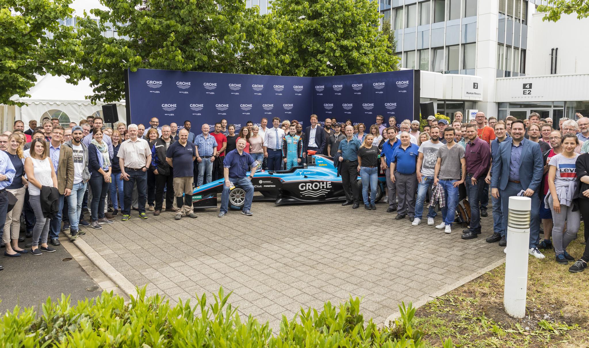 Race Driver David Beckmann visits GROHE in Hemer, Germany