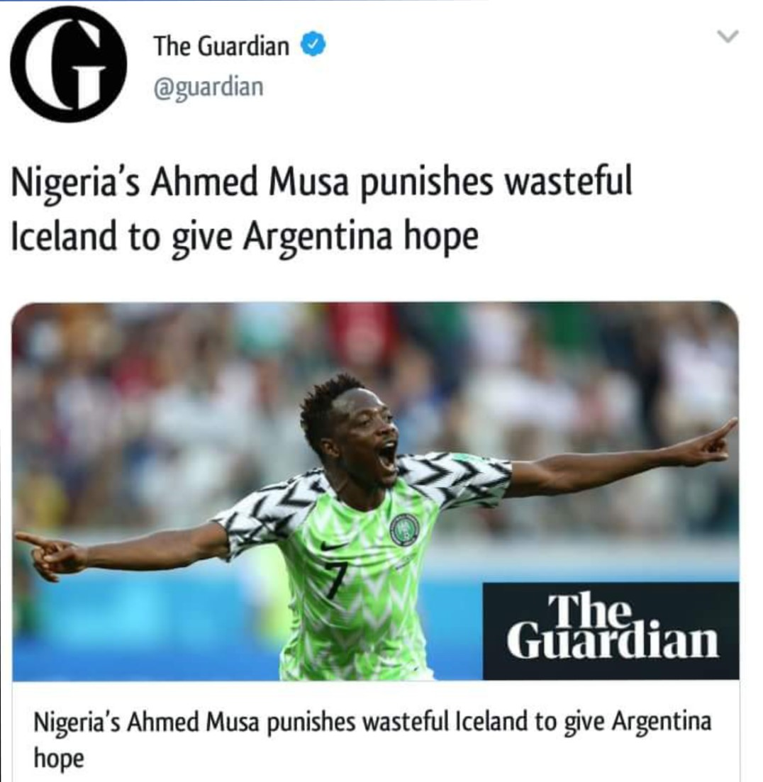 Nigerians bash The Guardian 'racist' headline on 2:0 win against Iceland
