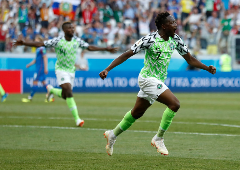 Nigeria beat Iceland 2:0, stands second position in Group D