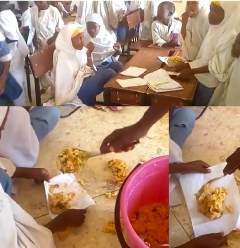 Nigerians angry, claim video showing pupils being served food in sheets of paper is from Kano school feeding program