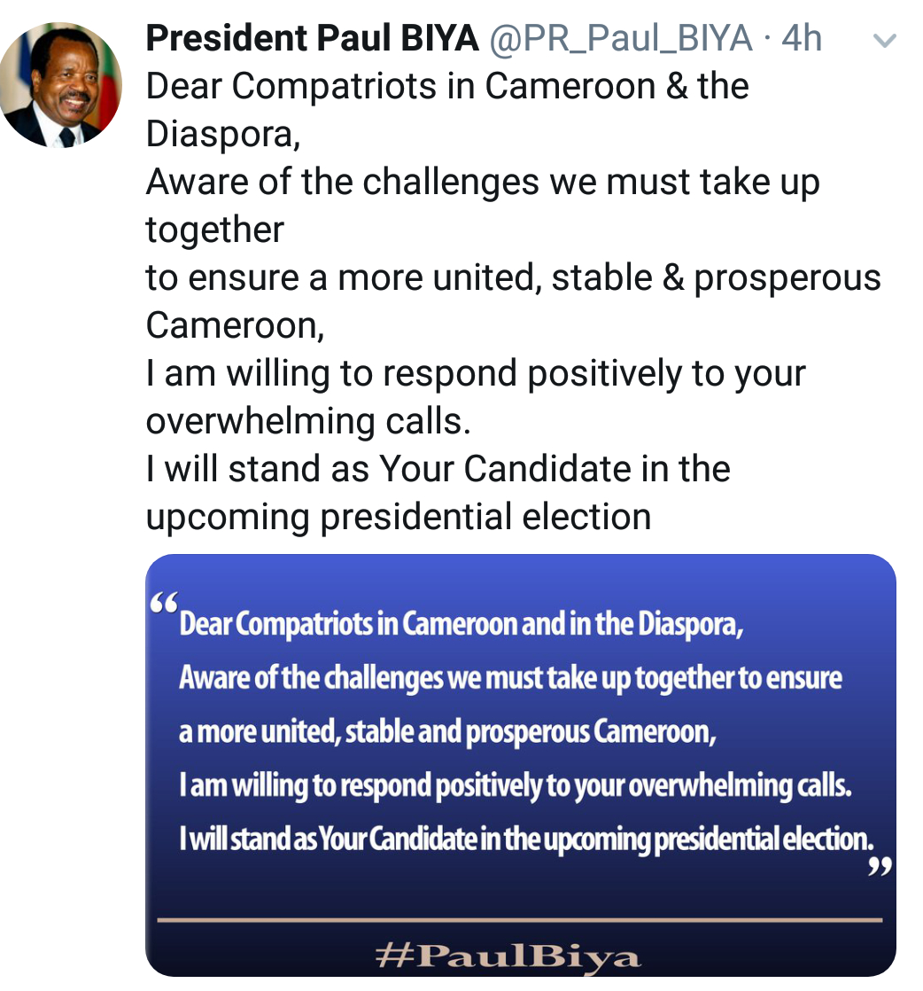 Cameroon's Paul Biya @85 seeks re-election