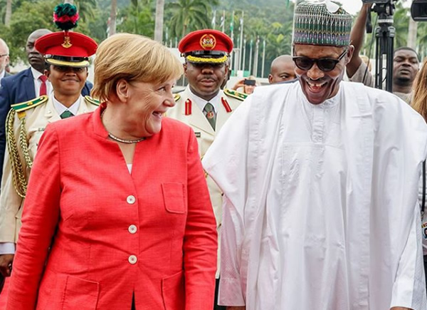 Buhari receives Merkel in Abuja