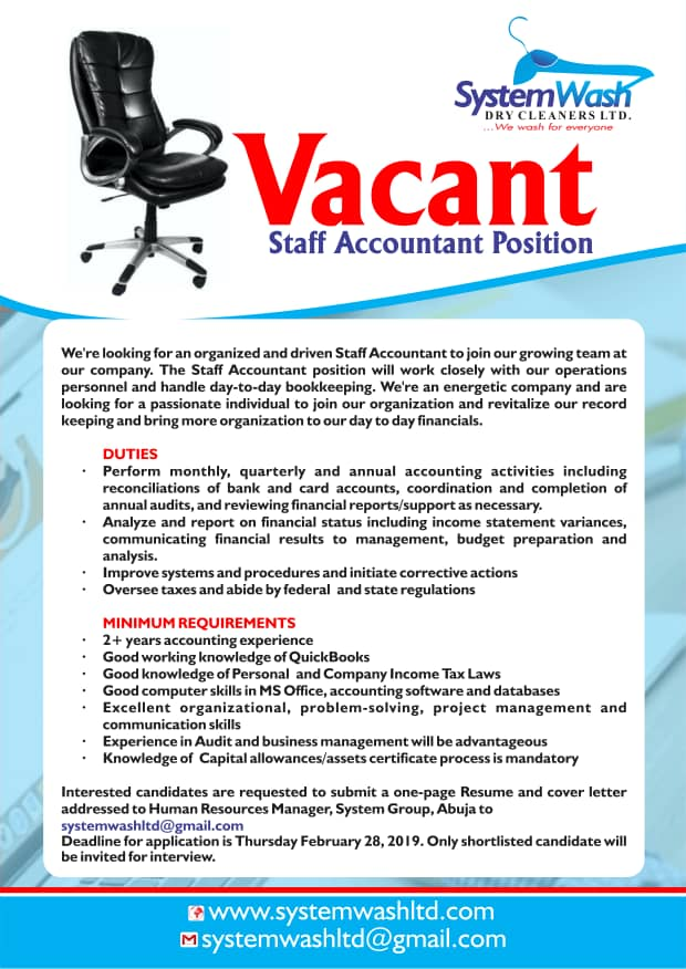 SPONSORED: JOB OPPORTUNITY FOR ACCOUNTANT IN ABUJA, NIGERIA