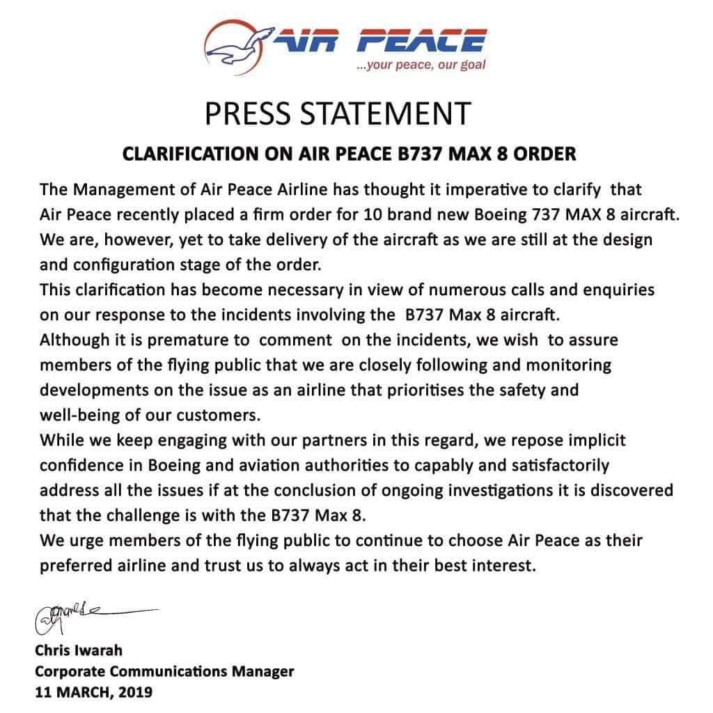 We're yet to take delivery of Boeing 737 8 Aircraft, says Air Peace