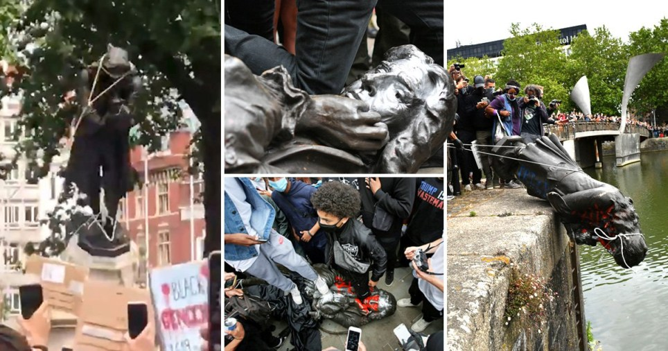 UK Protesters destroy Slave Merchant's 125 year-old Statue, he trafficked over 100, 000 Africans