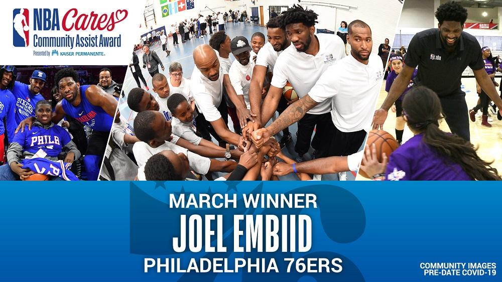 Philadelphia's Joel Embiid gets march NBA Cares Community Assist Award